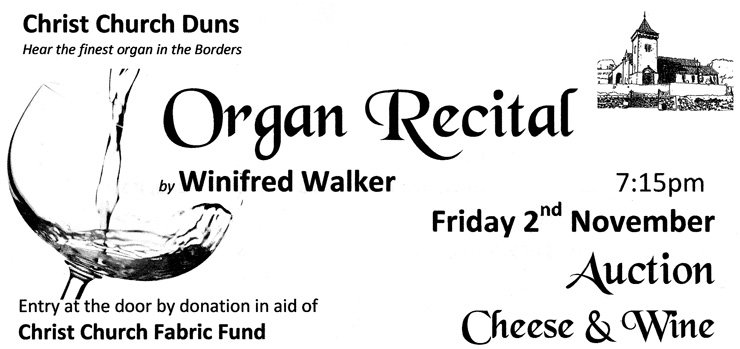 Advert for Organ Recital in Duns on 2 November